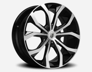 OF 4 22 x 9 LEXANI LUST BLACK MACHINED FACE LIP 6X115 40mm WHEELS RIMS
