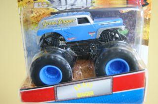 Hot Wheels Monster Jam Truck Grave Digger Light Blue Silver