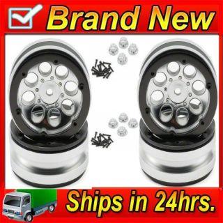 Axial AX8088 8 Hole 1 9 Beadlock Wheels Satin Chrome 4 SCX10 Scorpion