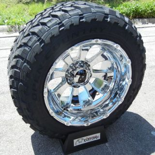 22x14 Chrome XD Armour Rims 37 Toyo M T Tires Chevy GMC Sierra