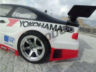 on Road 1 10 Racing Rubber Tires 6 Spoke Style Wheel Rim Silver