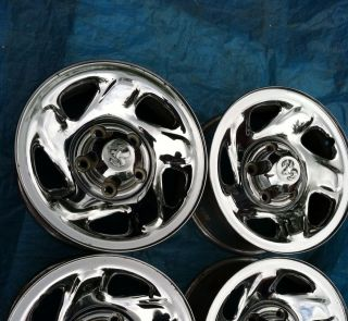 94 01 Dodge Ram Pickup Truck 1500 16x7 Steel Wheels Rims & Center Caps