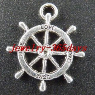 50 Tibetan Silver SHIPs Steering Wheels Charms 23mm