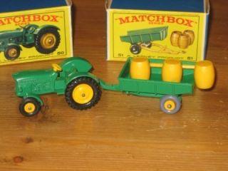 Moko Lesney Matchbox 50 51 John Deere Tractor Trailer