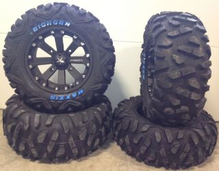MSA Black Kore 14 ATV Wheels 26 Bighorn Tires Polaris Sportsman RZR