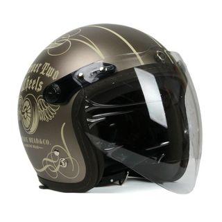 Vintage Motorcycle Scooter F4 Jet Helmet Twowheels Matt Bronze