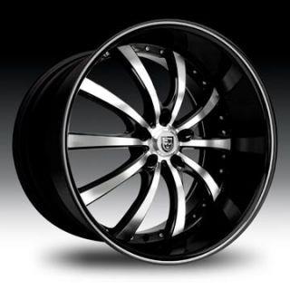 24 Lexani Wheels LSS 10 Black Rim Tire Escalade Navigator QX56 Armada
