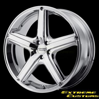 Racing AR883 Maverick Chrome 5 Lug Wheels Rims Free Lugs