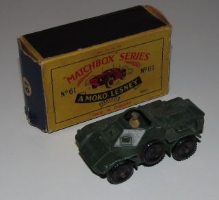 Lesney Matchbox Regular Wheels No 61 Ferret Army Scout Car Excellent w