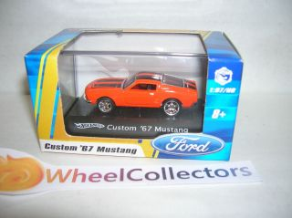 Custom 67 Mustang Orange Hot Wheels 1 87 Scale in Acrylic Clear Case