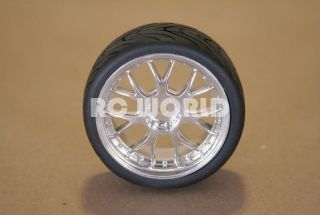 RC 1 10 Car Tires Wheels Rims Package Semi Slicks Kyosho Tamiya HPI