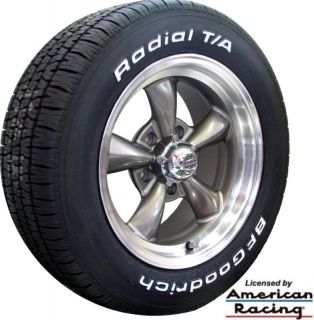 15x7 GRAY WHEELS & 225/70 15 BFG WHITE LETTER TIRES FOR CHEVY C3
