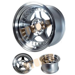 Wheels Kyusha 15x9 4x100 0mm 67 Hub Full Polish Deep Dish 4 Wheels