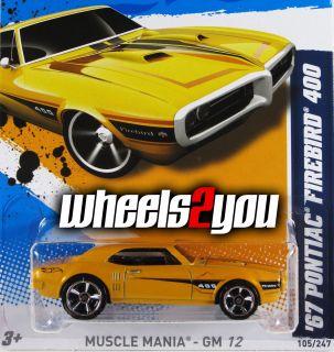 2012 Hot Wheels ** 67 PONTIAC FIREBIRD 400 ** Case N ** Yellow NEW