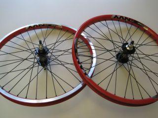 BMX racing wheelset 36H Sun Envy 20 x 1 75 Freewheel hubs Red rims NEW