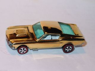 Hot Wheels Redline Custom Mustang Gold Plated Nice