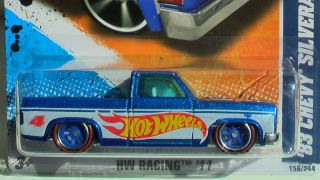 HOT WHEELS 83 PICK UP CHEVY SILVERADO BLUE WHEELS RUBBER TIRES RED