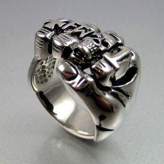 Stainless Steel Cross Skull Hand Forever Two Wheels 1%er Mens Ring