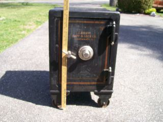 Antique 1908 J Baum Floor Safe w Wheels 3 Locking Doors 600 Lbs