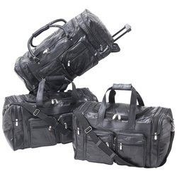 Leather Duffle Bag Set Trolley Wheels Easy Travel Luggage