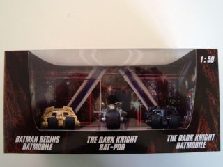 2012 Hot Wheels 3 PACK BATMAN BEGINS BATMOBILE DARK KNIGHT BAT POD