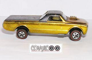 1968 Hot Wheels Redline Custom Fleetside SHINY & TUF GOLD GOOD WHEELS