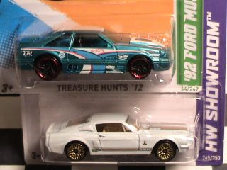 2012 Hot Wheels Treasure Hunt 92 Ford Mustang and 68 Shelby GT500