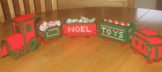 Christmas Train Wooden Bead Wheels Finished Plastic Canvas