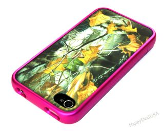 Hot Pink Rim CAMO MOSSY Hard Cover Phone Case for APPLE iPhone 4 4S
