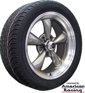 17x7 17x8 GRAY REV CLASSIC 100 WHEELS RIMS NEXEN TIRES CHEVY NOVA 1970