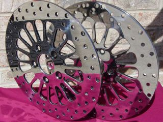SPOKE FRONT BRAKE ROTOR PAIR W FREE ROTOR BOLTS FOR HARLEY TOURING