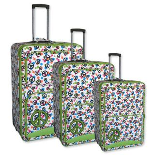 duty Green Peace 3 Piece Rolling Luggage Set wheels Suitcase carry on