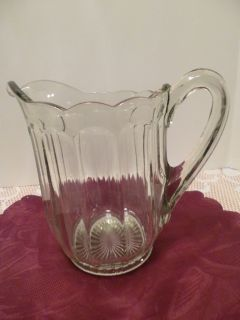 Antique EAPG Clear Glass Pitcher Panels Scrolled Rim Star Bottom