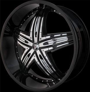 24 inch Diablo Rage Black Wheel Rim 5x115 Challenger Charger Magnum