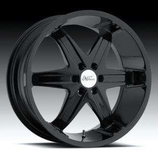 22 inch Milanni Kool Whip 6 Black Wheels Rims 5x135 18
