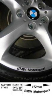 BMW Motorsport Wheel Rim Decal Sticker Large 112 BLKX8