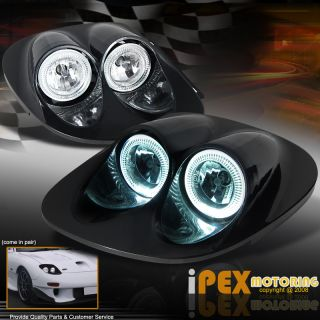 Mazda RX 7 JDM BLACK Style Dual Halo Rim Glass Lens Head Light Lamps