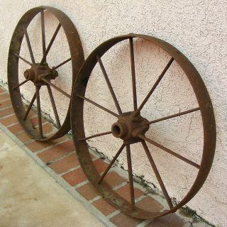 Wagon Wheels Steel Spoke Rim 24 in Pair Original Vintage Wheels