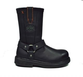 Harley Davidson Black Leather Man Made Motorcycle Bill Boots 95328 Men