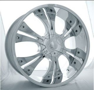 24 Shooz 001 Chrome Wheels Black Inserts Rims Tires Package 5x127