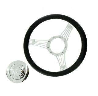 14 Billet Chrome Wrap Leather Banjo Steering Wheel Flame Horn Button