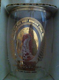 of 6 Small Tumblers Drinking Glasses Gilt Rim Logo Golden Co