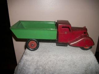KINGSBURY PRESSED STEEL DUMP HAULER TRUCK WYANDOTTE TOYS WOOD WHEELS