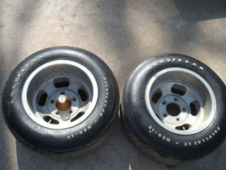 "US Indy Slotted Mags 15"" with Goodyear Ployglass Tires Mounted"