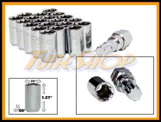 20 Tuner Wheel Lock Lug Nuts 8 Point Key 12x1 25 12 1 25 Acorn Open