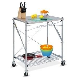 ROLLING KITCHEN WORK TABLE STAINLESS STEEL HEAVY DUTY CASTERS WHEELS