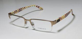53 18 140 Gold Multicolor Semi Rim Eyeglass Glasses Frame Italy