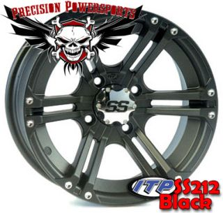 12 ITP SS212 Aluminum ATV Wheels Set of 4 w Caps Lugs