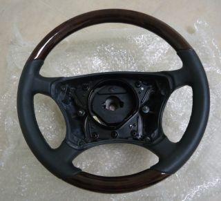1999 2006 Mercedes W220 S500 Wood Leather Steering Wheel Burl Black