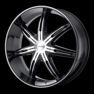 22 KMC Surge Wheel Set Black Machined Rims Set Surge